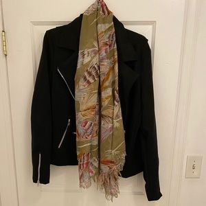 Vintage Long Silky Feather Patterned Scarf